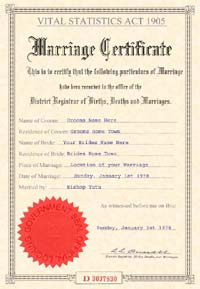 JOKE MARRIAGE CERTIFICATE